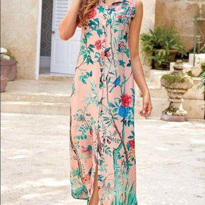 Soft Surroundings Petites Chinoiserie Maxi Dress